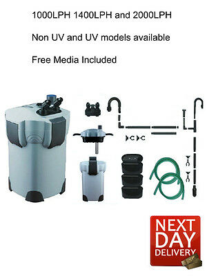 Aquarium Fish Tank External Filter Canister + FREE Media with optional 9W UV- UK