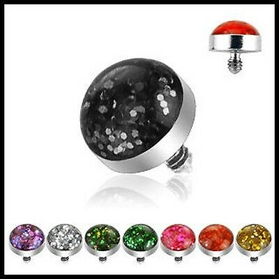 Dermal Anchor Top-part Glitter 1,2mm 8 colours or Set PIERCINGS from ALLFORYOU