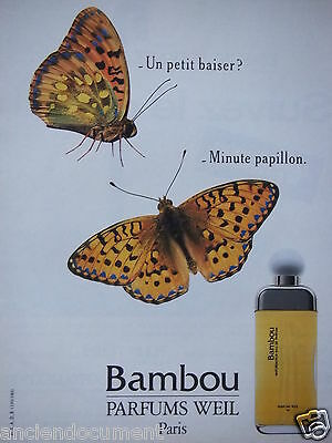 Publicité 1988 Bambou Parfums Weil Paris - Papillon - Advertising