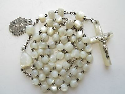 Late 1800s Antique Med Handcrafted Mother of Pearl Beads Rosary-St Silver/Medal