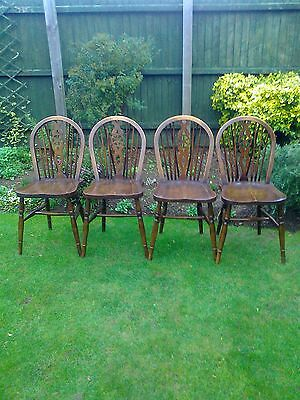 Mid Century Set of Four Ercol Wheelback Dining Chairs