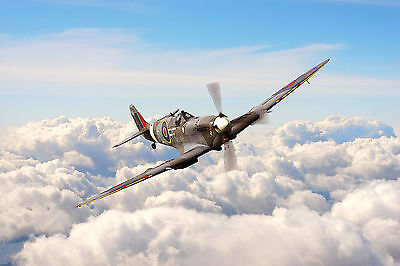 RAF Spitfire Aircraft Digital Watercolour Painting - Large Framed Canvas Print