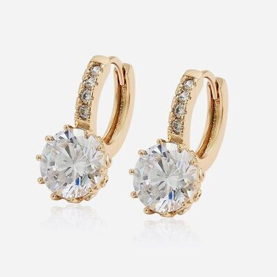 """9ct 9k Yellow """"GOLD FILLED"""" Ladies STONES SMALL SQUARE HOOP EARRINGS.20mm,2084"""