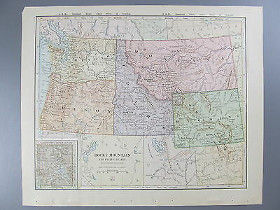 Original Color Map of the Rocky Mountain and Pacific States, 1887