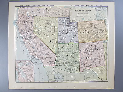 Original Color Map Rocky Mountain and Pacific States, 1887