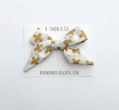 Baby Girl Toddler Infant Hairbow Fabric Bow Cream and Gold Cross Swiss Cross Bow