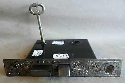 "Mortise lock/latch Eastlake 5 3/8""  cast CAST IRON FACE W/KEY"