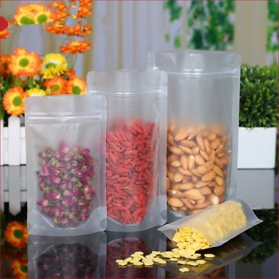 Matte Clear Food Grade Packaging Plastic Stand Up Pouch Bags Zip Lock Resealable