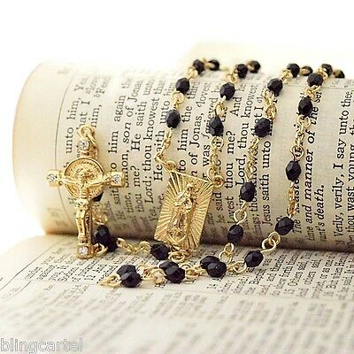 Square Virgin Mary Rosary Gold Finish Virgen De Guadalupe Black Beads Rosario