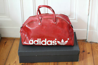 adidas tasche leder retro vintage sport ledertasche sporttasche rot braun weiss. Black Bedroom Furniture Sets. Home Design Ideas