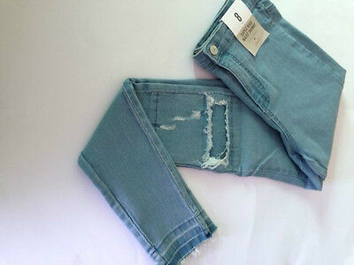 "Primark Women's Sky Blue High Waist ""Rip Repair"" Look Skinny Jeans"
