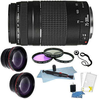 Canon Zoom Telephoto EF 75-300mm f/4.0-5.6 III Lens for T5 T6 T6i + Bundle