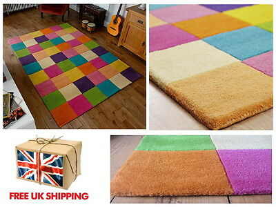 Multi Coloured Squares Bright Childrens Rug 3 SIZES 100% Wool Hand Tufted
