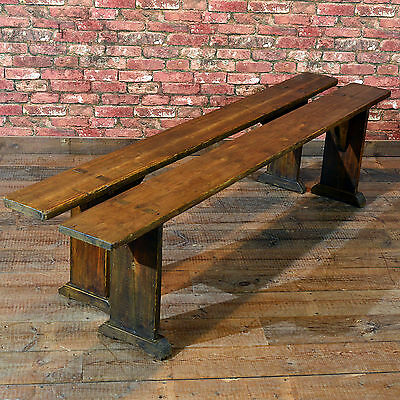 Antique Pair of Benches, Kitchen Seats, Pine Plank Dining, Stool, c.1900