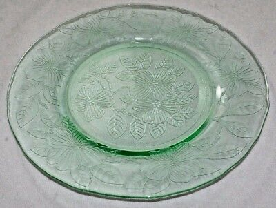 4 Vintage Green Luncheon Plates by MacBeth Evans Glass Co., Dogwood