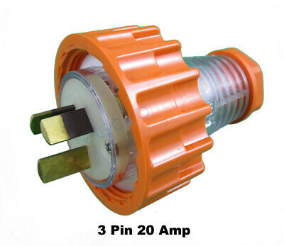Transco 20 AMP 3 Pin Flat Industrial Electrical Captive Plug IP66
