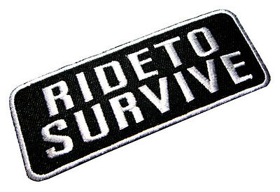Ride to Survive Logo Biker Motorcycles Embroidered Iron on Patch Free Shipping