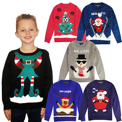 Kids 3D Novelty Christmas Jumper Boys Girls Knitted Crew Neck Xmas Sweater Top