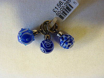 Trollbeads Sterling Silver Blue Christmas Ornaments Limited Edition Beads