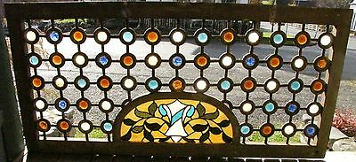 Rare Victorian Jeweled Fretwork With Stained Glass