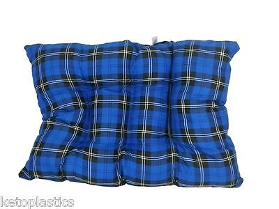 Brand New Rectangle Blue Tartan Dog Cat Pet Bed Floor Cushion Pillow Fleece