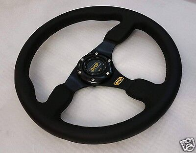 350mm Genuine Leather Flat Style Steering Wheel OMP MOMO Rally Drifting Racing