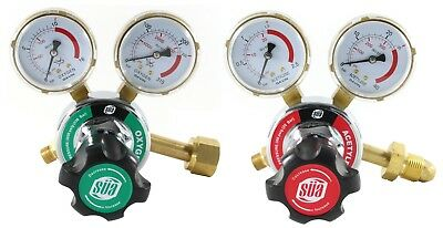 SÜA Oxygen and Acetylene 25HX Regulators Guages - Compatible with Harris