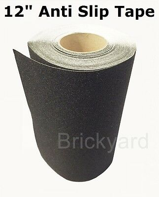"12"" x 5' BLACK Roll Safety Non Skid Tape Anti Slip Tape Sticker Grip Safe Grit"