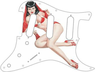 Stratocaster Pickguard Custom Fender SSS 11 Hole Guitar Pin Up Girl 7 Large WH
