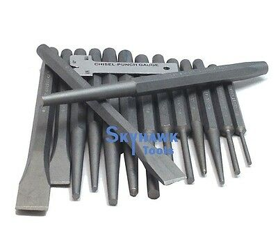 16 PC Industrial Punch and Chisel Set Mechanics Pin Tapered Center Chisel Punch