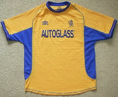 Authentic CHELSEA FC EPL Soccer Jersey Football Shirt Mens XL UMBRO Away 2000-02