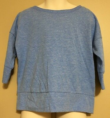 Old Navy XS 5 Shirt GIRLS 3/4 Banded Sleeve Blue French Terry Top NWT