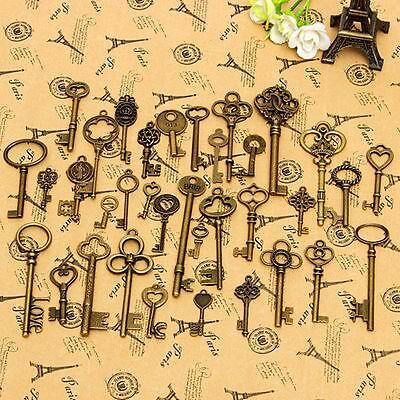 36x Zinc Alloy Assorted Antique Vintage Old Look Skeleton Keys Bronze Pendants