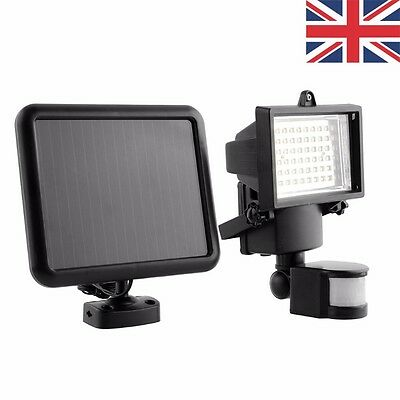 Outdoor Solar Power Motion Sensor Garden Floodlight 60 LED PIR Security Light