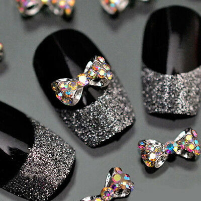10 x Noeud papillon Strass Glitter Tips Décoration Ongle Manucure Nail Art 3D