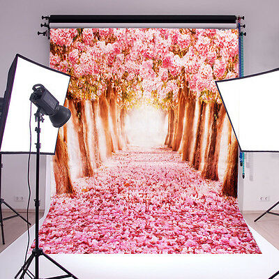 5x7FT Beautiful Pink Flower Street Backdrop Studio Photography Props Background