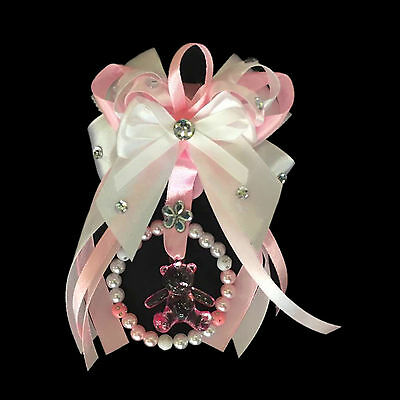 Fancy Pram Charm with Pink Bow/ Teddy in the middle/ Girl Gift