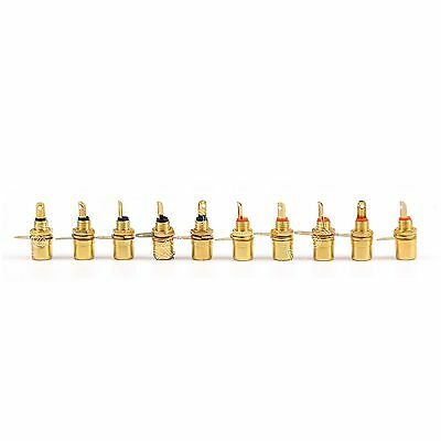10 PC Gold Plated RCA Phono Chassis Panel Mount Female Socket