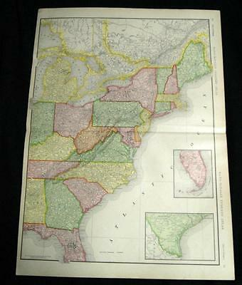Rand Mcnally Atlas Eastern United States Map Page Plate 1911 National Forests