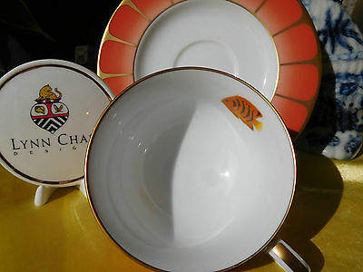Lynn Chase Designs Hand Painted -  Coral Seas  Cup And Saucer - 24 Karat Gold