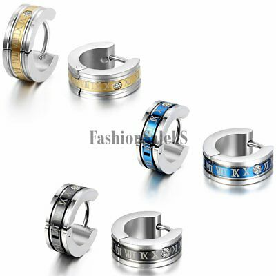 Men Cool Stainless Steel Roman Number Engraved Hoop Huggies Charm Earrings Studs