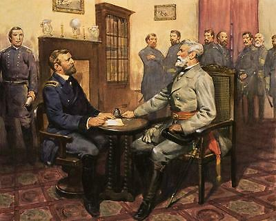 "Civil War Painting General Grant Robt.E Lee Large 12.4""x 15.4"" Real Canvas Print"