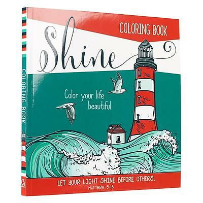 Coloring Book For Adults CHRISTIAN Bible Scripture Lighthouse Ocean Beach