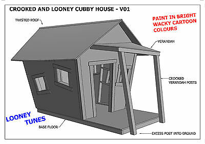 CROOKED CUBBY HOUSE - PLAY HOUSE V05 (Building Plans) - LOONEY TUNES Design