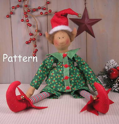 Primitive Vintage Style Christmas Elf Raggedy Doll Sew Craft Paper Pattern #37