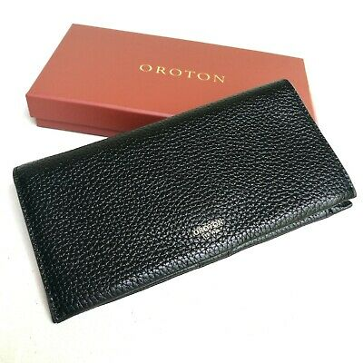 New OROTON Wallet Kiera MultiPocket Zip Around Large Clutch Purse Black Leather