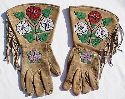 """Early 20th Century Yakima Beaded Gauntlets On Native Tanned Hide 14.5"""" x 8.75"""""""