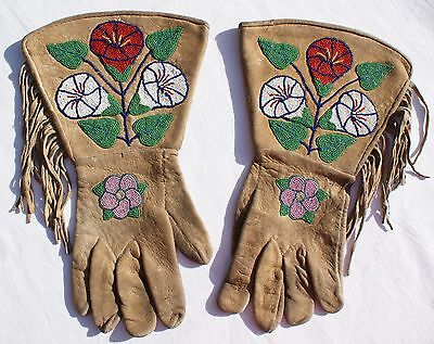 "Early 20th Century Yakima Beaded Gauntlets On Native Tanned Hide 14.5"" x 8.75"""