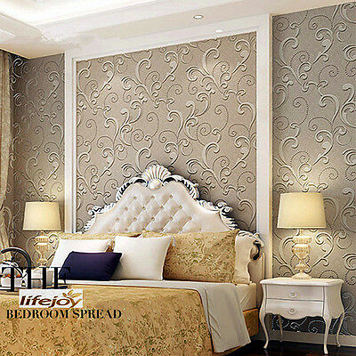 3D Textured Project Wallpaper Roll European Style for Bedroom Dark Brown