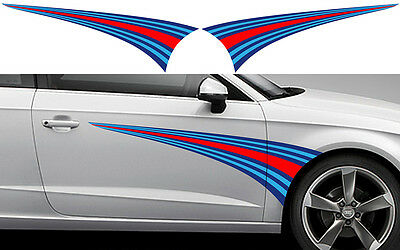 2 X BANDES MARTINI RACING 125cmX39cm AUTOCOLLANT STICKER AUTO (BA189)